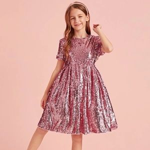 Girls Pink Sequin Flare Party Dress